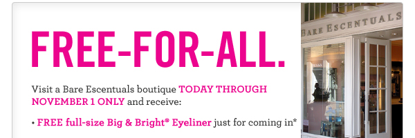 EM11 217 BoutiqueEvent 6 Free Big & Bright Eyeliner at Bare Escenctuals